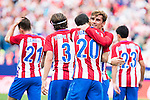 Atletico de Madrid's players Kevin Gameiro, Filipe Luis, Juanfran Torres, Juanfran Torres and Nico Gaitán during a match of La Liga Santander at Vicente Calderon Stadium in Madrid. September 25, Spain. 2016. (ALTERPHOTOS/BorjaB.Hojas)