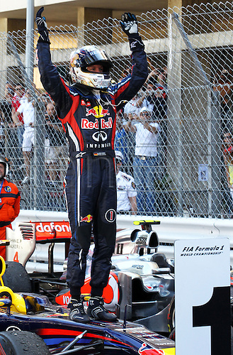 29.05.2011. Monte Carlo, Monaco. German Formula One driver Sebastian Vettel of Red Bull Racing celebrates in front of the podium after winning the Formula 1 Grand Prix of Monaco at the street circuit of Monte Carlo, Monaco, 29 May 2011.