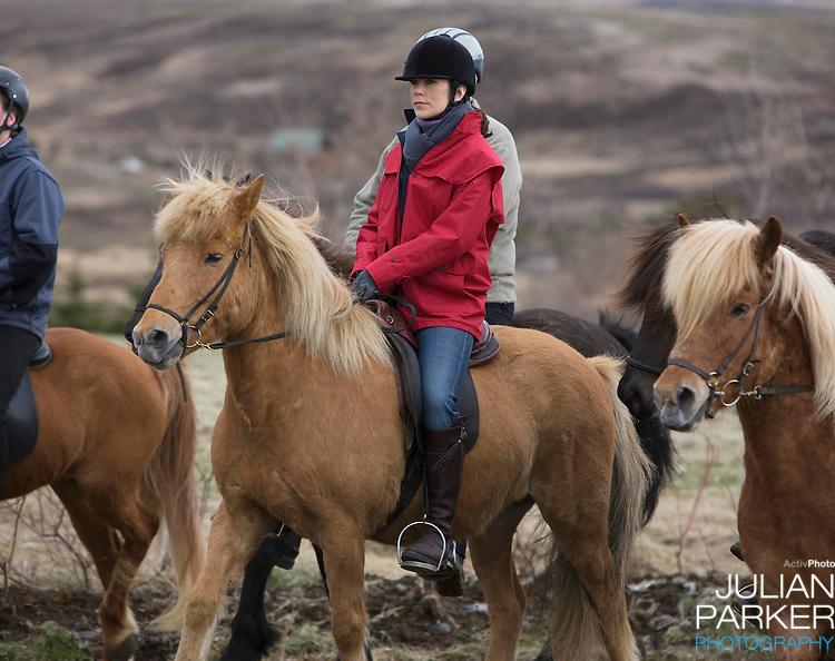 Crown Prince Frederick and Crown Princess Mary of Denmark on a four day official visit to Iceland,visit Dalland farm, and ride Icelandic horses, in Nesjavellir, Iceland