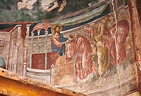 Pictures &amp; images of the interior frescoes of Ubisa St. George Georgian Orthodox medieval monastery, Georgia (country)<br /> <br /> The 14th century lavish interior frescoes were painted by Gerasim in a local style known as Palaeologus  following Byzantine influences.