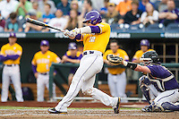 LSU Tigers catcher Kade Scivicque (22) swings the bat against the TCU Horned Frogs in Game 10 of the NCAA College World Series on June 18, 2015 at TD Ameritrade Park in Omaha, Nebraska. TCU defeated the Tigers 8-4, eliminating LSU from the tournament. (Andrew Woolley/Four Seam Images)