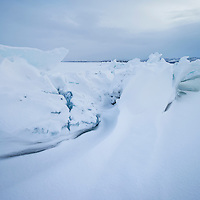 Ice rift on frozen lake Torneträsk in winter, Abisko national park, Lapland, Sweden