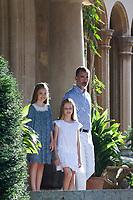 King of Spain Felipe VI, Princess Leonor (L) and Princess Sofia (C)