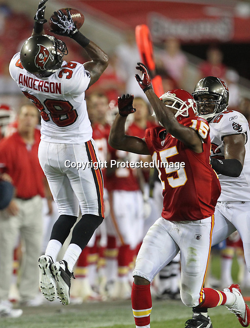 Tampa Bay Buccaneer's cornerback Brandon Anderson breaks up a pass intended for Kansas City Chief's wide receiver Verran Tucker. The Buccaneers defeated the Chiefs 20-15 during an NFL preseason game Saturday, Aug. 21, 2010 in Tampa,Fla. (AP Photo/Margaret Bowles).