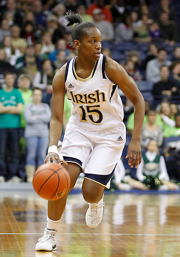 December 31, 2012:  Notre Dame guard Kaila Turner (15) dribbles the ball during NCAA Women's Basketball game action between the Notre Dame Fighting Irish and the St. Francis (PA) Red Flash at Purcell Pavilion at the Joyce Center in South Bend, Indiana.  Notre Dame defeated St. Francis 128-55.