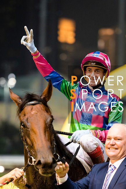 #10 Jockey Douglas Whyte riding Falcon Turbo during the Hong Kong Racing at Happy Valley Race Course on June 13, 2018 in Hong Kong, Hong Kong. Photo by Marcio Rodrigo Machado / Power Sport Images