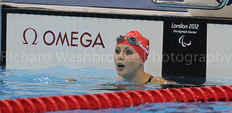 Paralympics London 2012 - ParalympicsGB - Swimming held at the Aquatics Centre  31st August 2012.  .Jane Jessica Applegate  competes in the Women's 100m Backstroke -S14  Heat 2 at the Paralympic Games in London. Photo: Richard Washbrooke/ParalympicsGB)