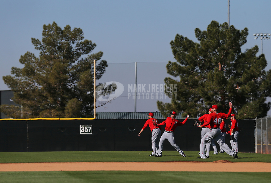 Feb. 12, 2013; Tempe, AZ, USA: Los Angeles Angels pitchers warm up during spring training at Tempe Diablo Stadium. Mandatory Credit: Mark J. Rebilas-USA TODAY Sports