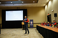 Bradenton, FL : Clint Peay speaks to US Soccer athletes during a presentation in Bradenton, Fla., on January 4, 2018. (Photo by Casey Brooke Lawson)