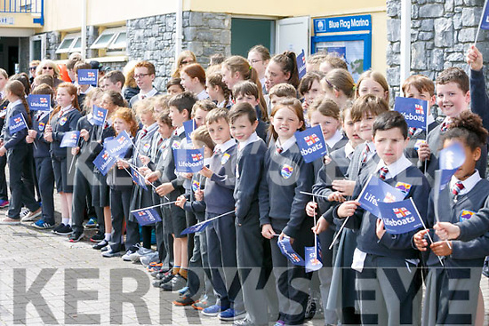 Students from Fenit NS and Spa NS waiting for Prince Edward, Duke of Kent, who visited  the RNLI Lifeboat station in Fenit on Tuesday