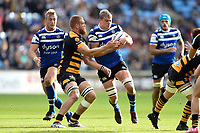 Tom Ellis of Bath Rugby is tackled by Brad Shields of Wasps. Heineken Champions Cup match, between Wasps and Bath Rugby on October 20, 2018 at the Ricoh Arena in Coventry, England. Photo by: Patrick Khachfe / Onside Images