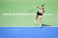 Washington, DC - August 4, 2019: Jessica Pegula (USA) serves the ball against Camila Giorgi (ITA)  NOT PICTURED during the WTA Citi Open Woman's Finals at Rock Creek Tennis Center, in Washington D.C. (Photo by Philip Peters/Media Images International)