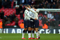 Spurs players celebrate the win with goalscorer Son Heung-Min of Tottenham Hotspur after Tottenham Hotspur vs Newcastle United, Premier League Football at Wembley Stadium on 2nd February 2019