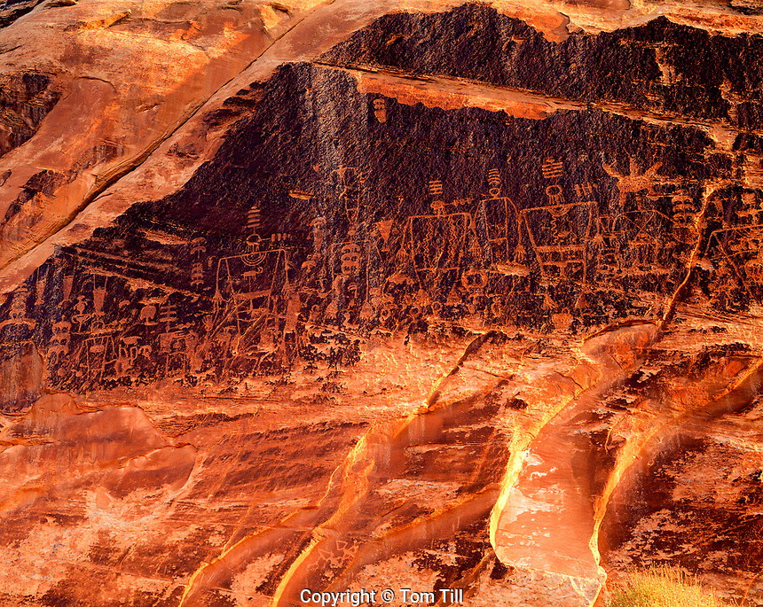 Kachina Panel,  BLM proposed wilderness, Utah Ancient Basketmaker Xulture rock art, sunrise