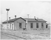 East side of closed D&amp;RGW Poncha Junction depot.  Order board blades removed.<br /> D&amp;RGW  Poncha Junction, CO  Taken by Van Dusen, Eugene - ca. 1955