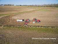 63801-10115 Farmer applying anhydrous ammonia (nitrogen) to corn field-aerial Marion Co. IL