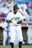 June 23, 2009:  Shortstop Jose Torres of the Jamestown Jammers at bat during a game at Russell Diethrick Park in Jamestown, NY.  The Jammers are the NY-Penn League Short-Season Class-A affiliate of the Florida Marlins.  Photo by:  Mike Janes/Four Seam Images