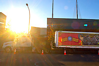 The sun sets over the Xfinity Arena and a Ringling Brothers and Barnum & Bailey Circus truck in Everett, Wash. on October 4, 2015. Ringling Bros. announced it would be returning to the Pacific Northwest for at least a couple of years. (photo Karen Ducey photography).