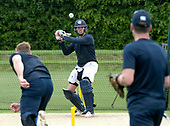 Cricket Scotland - Scotland train at Kent County cricket ground at Benkenham, ahead of two matches against Sri Lanka, on Sunday (tomorrow) and Tuesday - pic shows Calum MacLeod in the nets - picture by Donald MacLeod - 20.05.2017 - 07702 319 738 - clanmacleod@btinternet.com - www.donald-macleod.com