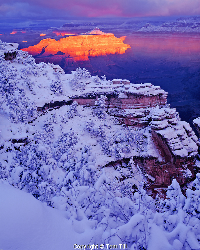 Winter sunrise at Mather Point, Grand Canyon National Park, Arizona  Colorado River South Rim