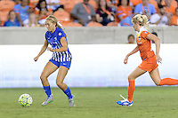 Houston, TX - Sunday Sept. 11, 2016: Brittany Ratcliffe, Denise O'Sullivan during a regular season National Women's Soccer League (NWSL) match between the Houston Dash and the Boston Breakers at BBVA Compass Stadium.