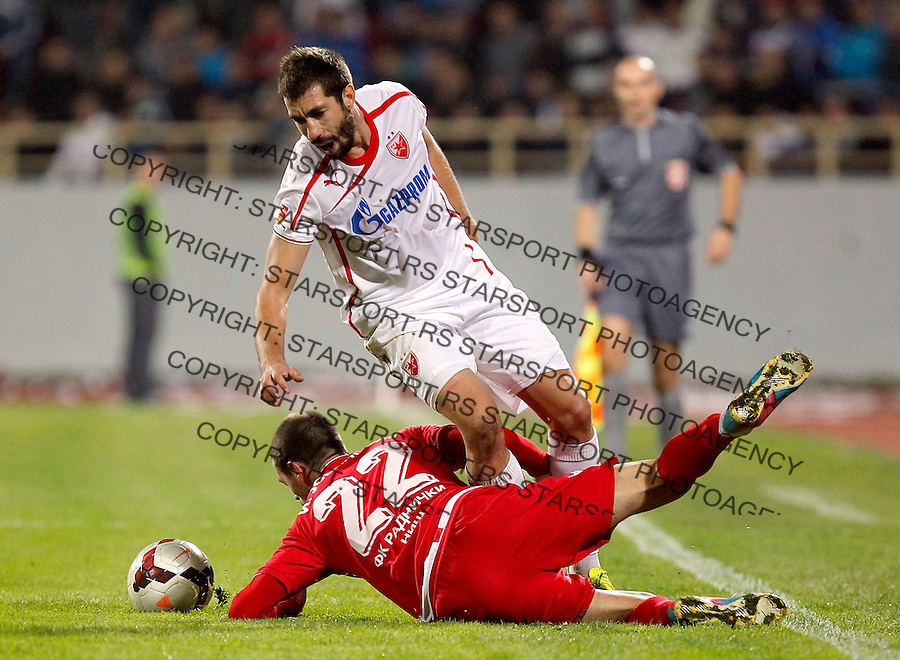 Fudbal Super liga season 2013-2014<br /> Radnicki Nis v Crvena Zvezda<br /> Nikola Mijailovic and Ivica Jovanovic <br /> Nis, 26.10.2013.<br /> foto: Srdjan Stevanovic/Starsportphoto &copy;