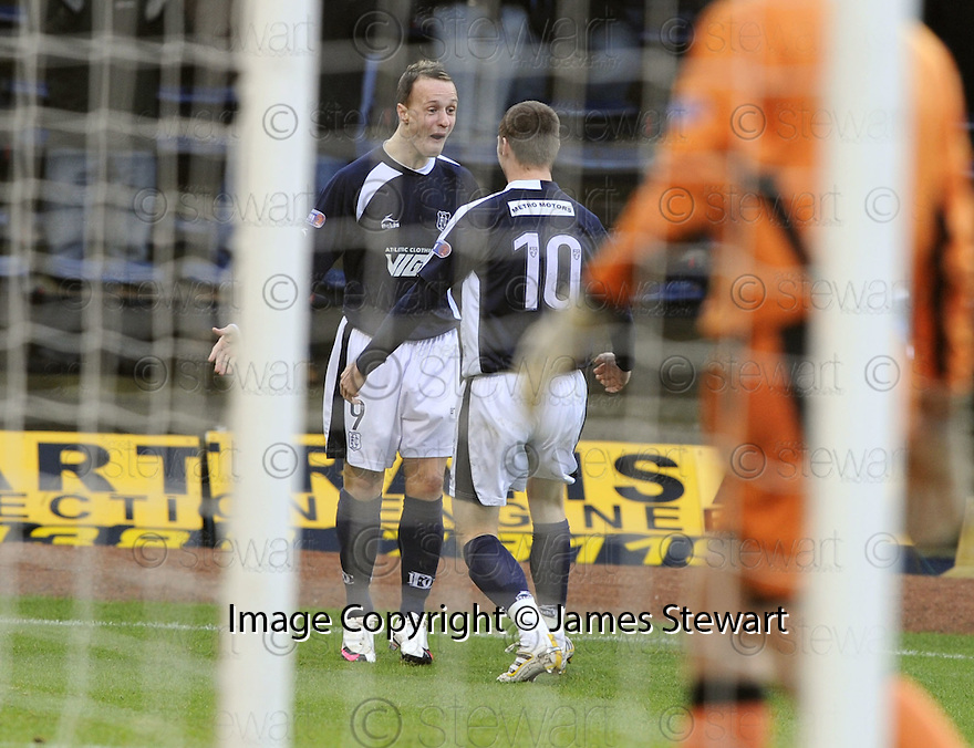 17/01/2010  Copyright  Pic : James Stewart.sct_jspa_02_dundee_v_dunfermline  .:: DUNDEE'S LEIGH GRIFFITHS CELEBRATES WITH COLIN MCMENAMIN AFTER HE SCORES THE FIRST::.James Stewart Photography 19 Carronlea Drive, Falkirk. FK2 8DN      Vat Reg No. 607 6932 25.Telephone      : +44 (0)1324 570291 .Mobile              : +44 (0)7721 416997.E-mail  :  jim@jspa.co.uk.If you require further information then contact Jim Stewart on any of the numbers above.........