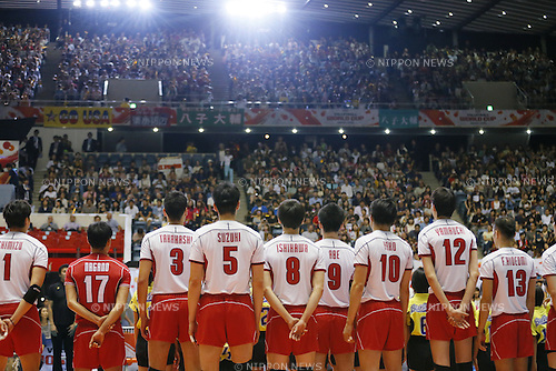Japan National team group (JPN), SEPTEMBER 21, 2015 - Volleyball : FIVB Men's World Cup 2015 A-site 3rd Round between Japan 0-3 Argentina 1st Yoyogi Gymnasium in Tokyo, Japan. (Photo by Yusuke Nakanishi/AFLO SPORT)