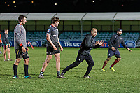 Pictured: Coach Patrick Horgan takes training. Tuesday 20 February 2019<br /> Re: Neath RFC training at The Gnoll in Neath, south Wales, UK.