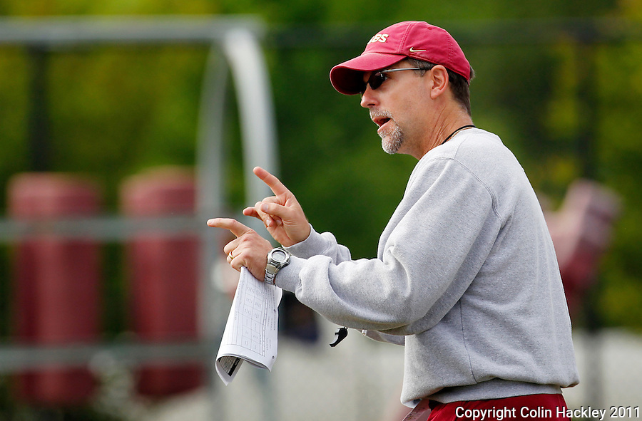 TALLAHASSEE, FLA. 3/26/11-FSU032611 CH-Florida State Running Backs and Special Teams Coach Eddie Gran instructs during practice Saturday in Tallahassee..COLIN HACKLEY PHOTO