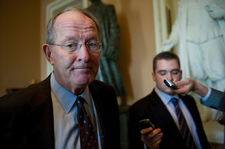 WASHINGTON, DC - July 19: Senate Republican Conference Chairman Lamar Alexander, R-Tenn., talks to reporters before the Senate Republican policy luncheon at the U.S. Capitol. (Photo by Scott J. Ferrell/Congressional Quarterly)