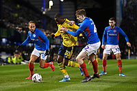 Edward Nketiah of Arsenal is tackled by Steve Seddon of Portsmouth right during Portsmouth vs Arsenal, Emirates FA Cup Football at Fratton Park on 2nd March 2020