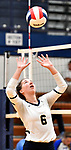 Althoff's Claire Franke sets the ball. Althoff defeated Columbia in two games in volleyball action on Thursday August 23, 2018.<br /> Tim Vizer/Special to STLhighschoolsports.com