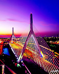 Leonard P. Zakim Bunker Hill Bridge is a cable stayed bridge that crosses the Charles River as a north and south entry and exit point to Boston.  The Zakim is the widest cable stayed bridge in the world.
