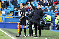 Swansea manager Carlos Carvalhal (R) gives instructions from the touch line during The Emirates FA Cup Fifth Round match between Sheffield Wednesday and Swansea City at Hillsborough, Sheffield, England, UK. Saturday 17 February 2018