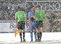 Match Referee, Graham Horwood explains to Wycombe Wanderers captain, David McCracken, that he is abandoning the game after twenty two minutes during Wycombe Wanderers vs Macclesfield Town, Coca Cola League Division Two Football at Adams Park on 28th October 2008