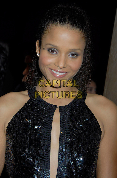 SYDNEY T. POITIER.2007 ACE Eddie Awards 57th Annual Gala held at the Beverly Hilton Hotel, Beverly Hills, California, USA,.18 February 2007..half length black sequined dress cut out.CAP/ADM/GB.©Gary Boas/AdMedia/Capital Pictures.