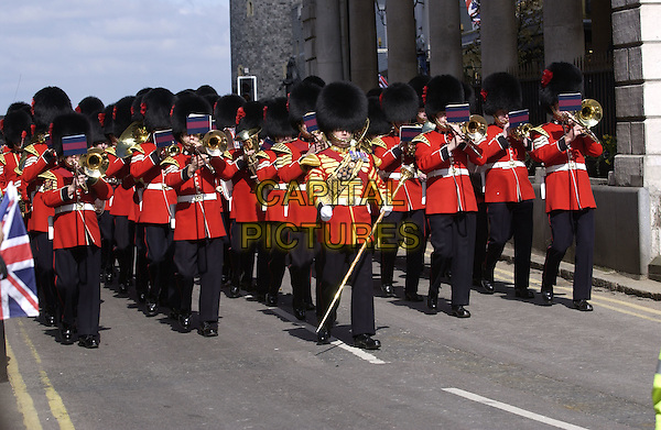MARCHING BAND.On the occasion of the royal wedding between HRH Prince Charles and Camilla Parker Bowles, Windsor, Berkshire, April 9th 2005..full length music uniforn busbee hats black red jackets.www.capitalpictures.com.sales@capitalpictures.com.©David Hitchens/Capital Pictures.** NO UK **