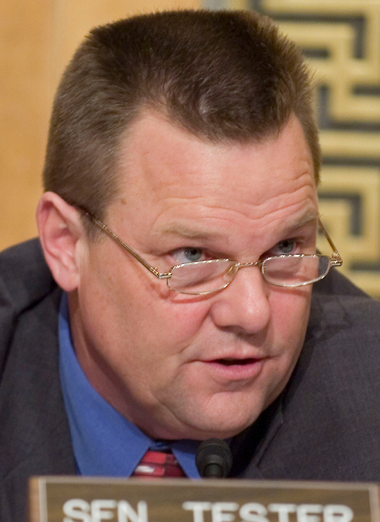 01/09/07--Sen. Jon Tester, D-Mont., during the Senate Homeland Security and Governmental Affairs Committee hearing on implementing recommendations of the 9/11 Commission. Meanwhile, the House was likely to pass a bill Tuesday that would implement many of the recommendations of the Sept. 11 commission but would largely fail to identify funding for the initiatives. The lack of specific funding for most programs and several controversial provisions are expected to undercut support for the bill (HR 1) in the Senate. Congressional Quarterly Photo by Scott J. Ferrell