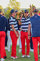 Kevin Kisner (USA) gives a thumbs up as he holds the Presidents Cup following the 2017 President's Cup, Liberty National Golf Club, Jersey City, New Jersey, USA. 10/1/2017. <br /> Picture: Golffile | Ken Murray<br /> <br /> All photo usage must carry mandatory copyright credit (&copy; Golffile | Ken Murray)