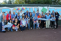 Piscataway, NJ - Sunday Sept. 25, 2016: Cloud Nine supporters group, Tony Novo prior to a regular season National Women's Soccer League (NWSL) match between Sky Blue FC and the Portland Thorns FC at Yurcak Field.