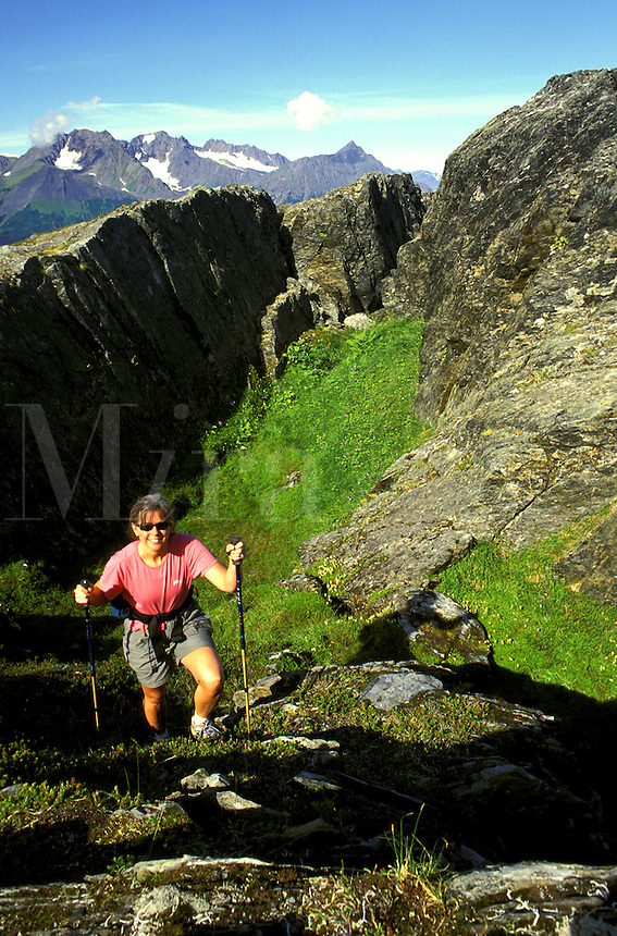 Hiking on Mt. Alice, Chugach National Forest, Kenai Peninsula, Seward,  Alaska.  MR