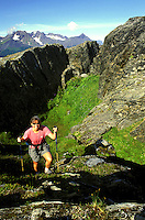 Hiking on Mt. Alice, Chugach National Forest, Kenai Peninsula, Seward,  Alaska.  MR