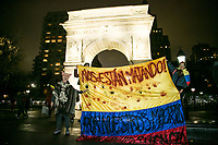 NEW YORK, NY - NOVEMBER 27: Hundreds of Colombians protest in New York City against their president Iván Duque and Colombian government policies in Washington Square Park on November 27, 2019 in New York. Thousands of Colombian anti-government protesters have taken to the streets for four days in a national strike, where at least 300,000 people among students, teachers and union organizers have marched across the country, being the biggest march and protest in recent years. Although there have been vandalism acts and two deaths, dealers continue to protest trying to have a positive response from the government (Photo by Pablo Monsalve / VIEWpress)