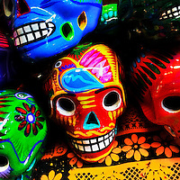 Colorfully decorated clay skulls (Calaveras) are seen on a local marketplace before the start of the Day of the Dead (Día de Muertos) festivities in Mexico City, Mexico, 27 October 2016.