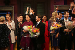 Kristen Anderson-Lopez,  James-Allen Ford, Sara Wordsworth, and Russ Kaplan with the cast during the Broadway Opening Night Performance Curtain Call for 'In Transit' at Circle in the Square Theatre on December 11, 2016 in New York City.
