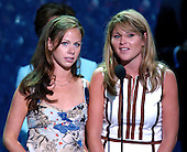 New York, NY - August  31, 2004 -- First daughters Jenna Bush, right, and Barbara Bush, left, do a microphone check prior to their scheduled speech at the 2004 Republican National Convention in Madison Square Garden in New York, New York on Tuesday, August 31, 2004..Credit: Ron Sachs / CNP                                 .(RESTRICTION: No New York Metro or other Newspapers within a 75 mile radius of New York City)