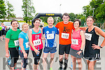 L-R Louise Doolan, Olivia Fitzgerald, and Katherin Lynch all from Killarney, Seamus Murphy from Milltown, Andrew Purcell from Listowel, Elaine O'Keeffe from Duagh and Julie Purcell from Listowel at the finish line of Killarney Lions Club 10k run in aid of Kerry Spina Bifida Hydrocephalus Association in the Castle Ross Hotel, Killarney last Saturday morning.