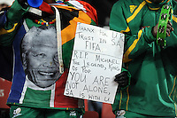 A fan displays a banner in honour of Michael Jackson. Brazil defeated USA 3-2 in the FIFA Confederations Cup Final at Ellis Park Stadium in Johannesburg, South Africa on June 28, 2009.