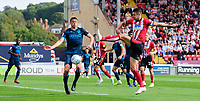 Lincoln City's Jason Shackell under pressure from Bristol Rovers' Tom Davies<br /> <br /> Photographer Chris Vaughan/CameraSport<br /> <br /> The EFL Sky Bet League One - Lincoln City v Bristol Rovers - Saturday 14th September 2019 - Sincil Bank - Lincoln<br /> <br /> World Copyright © 2019 CameraSport. All rights reserved. 43 Linden Ave. Countesthorpe. Leicester. England. LE8 5PG - Tel: +44 (0) 116 277 4147 - admin@camerasport.com - www.camerasport.com